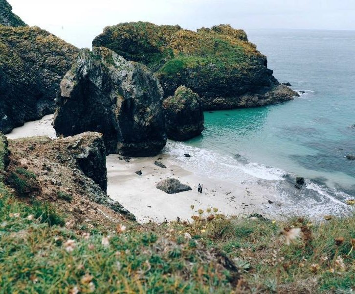 View over Kynance Cove Beach on the Lizard Peninsula in Cornwall