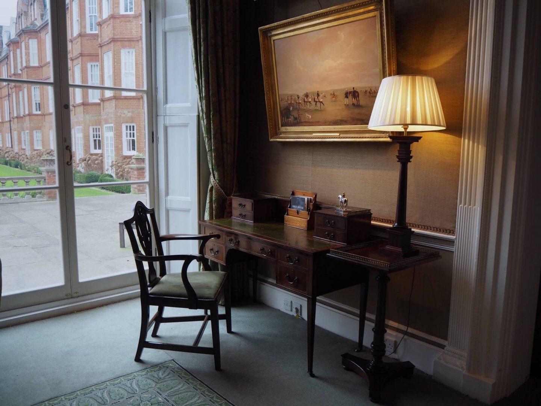 Desk by window inside Jockey Club Rooms Newmarket