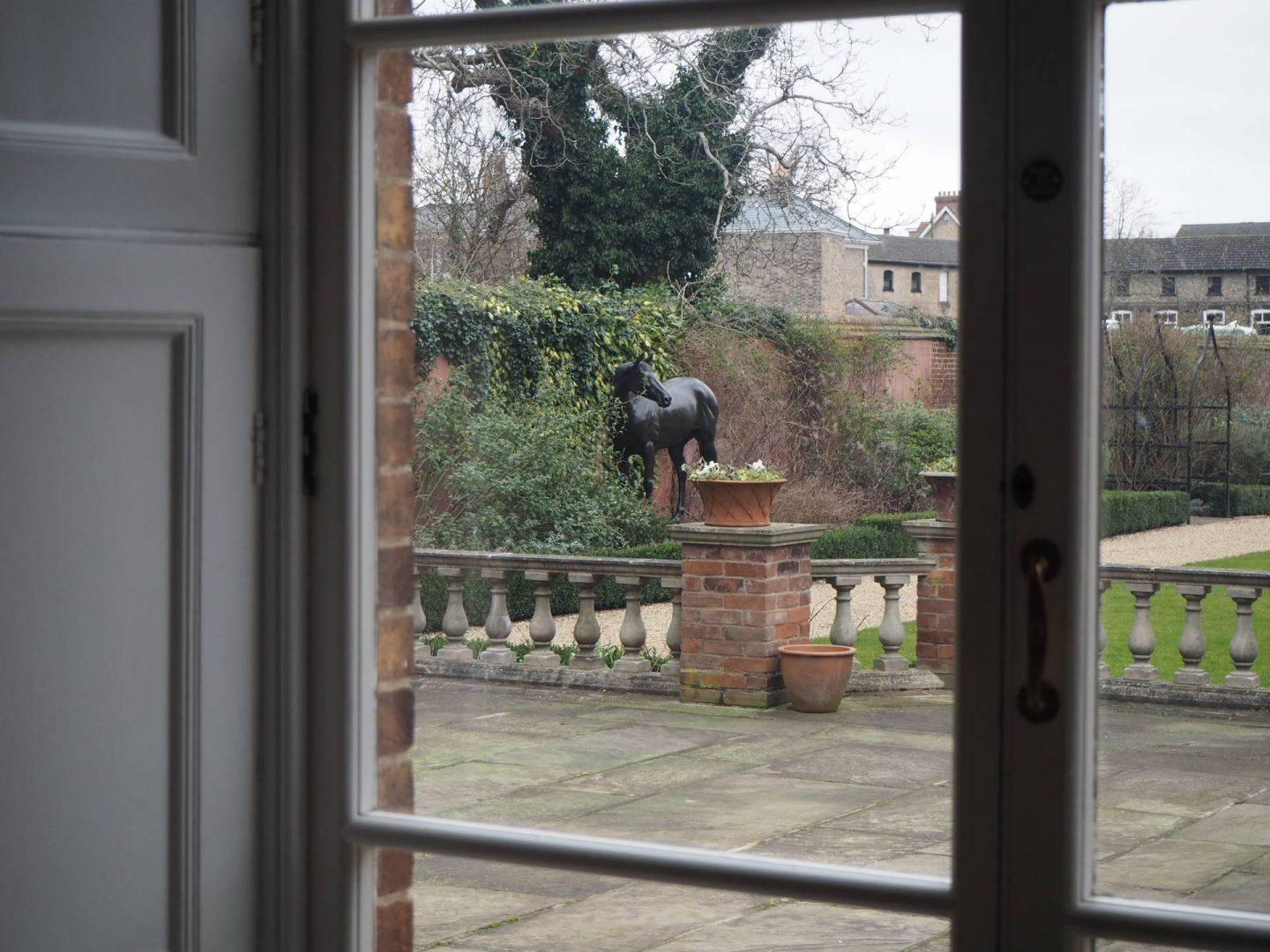 Horse statue from window in Jockey Club Rooms Newmarket