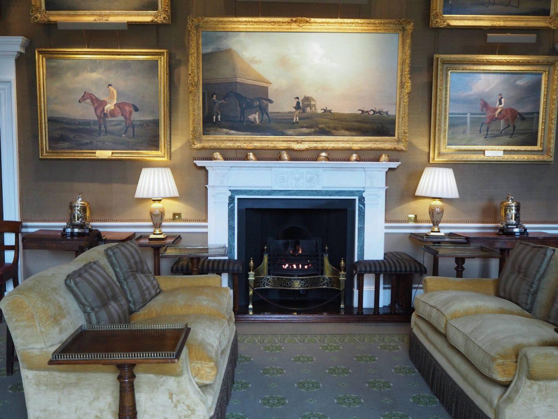 fireplace inside Jockey Club Rooms in Newmarket