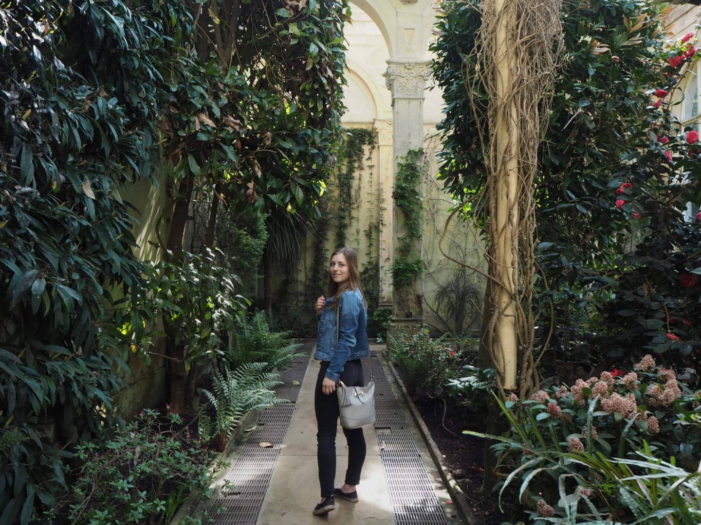 girl in the greenhouse at Castle Ashby