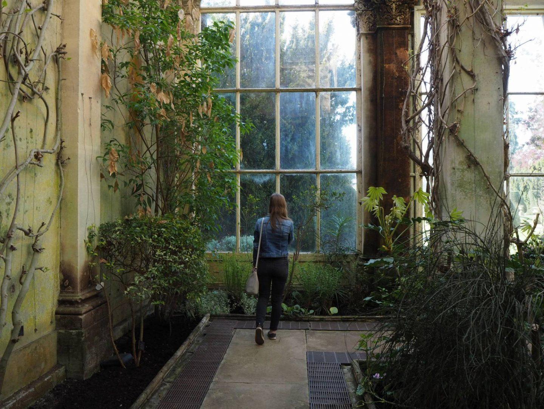 girl in the orangery at Castle Ashby Gardens