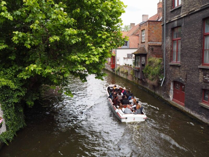 Boat trip in Bruges on a weekend in Belgium