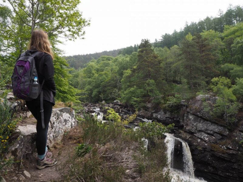 Looking out over Rogie Falls in Scotland
