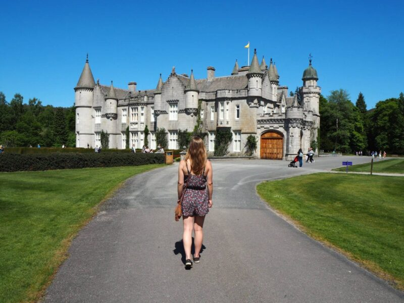 Girl walking up to Balmoral Castle