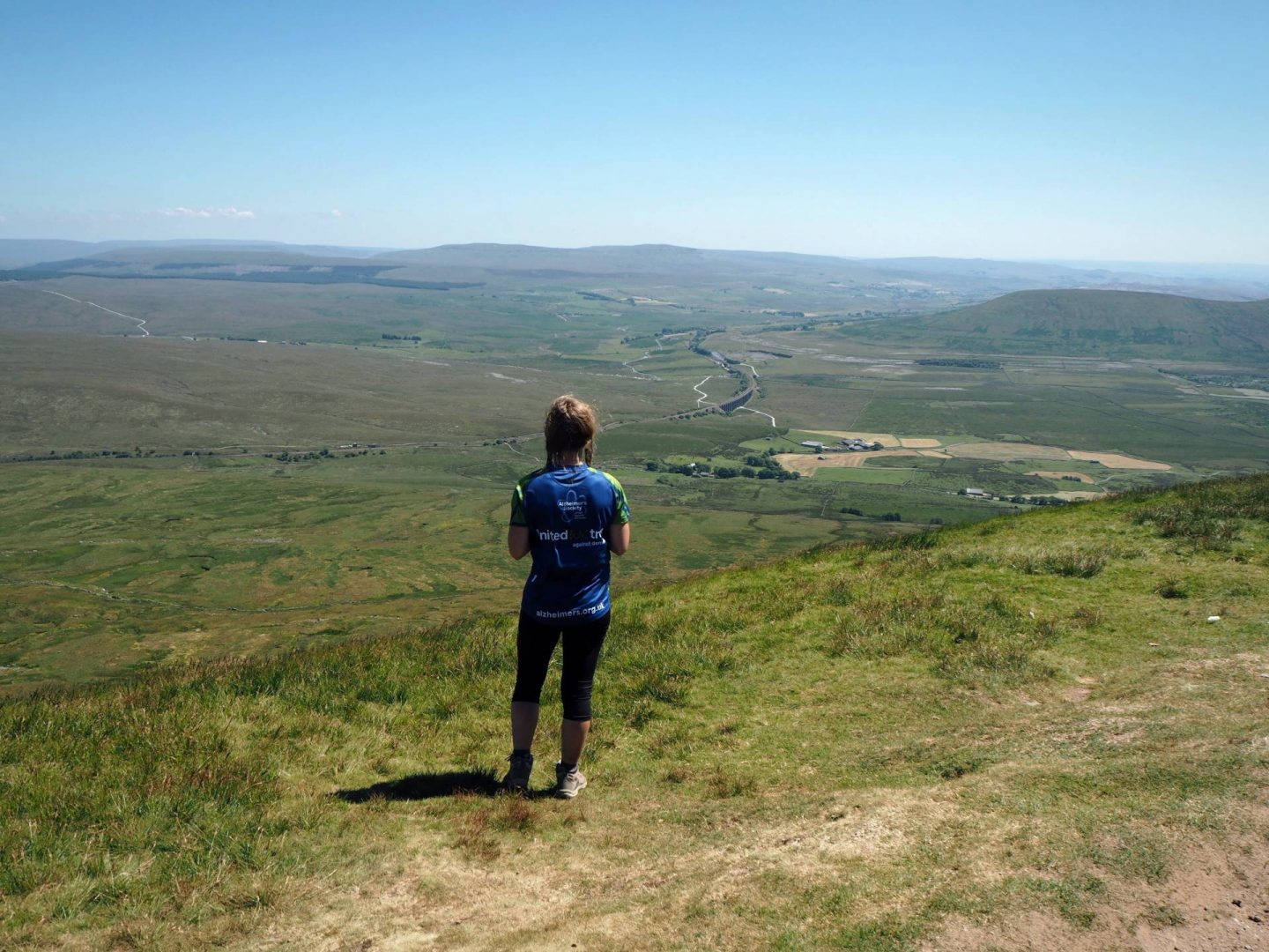 Looking out from the top of Whernside whilst hiking the yorkshire three peaks
