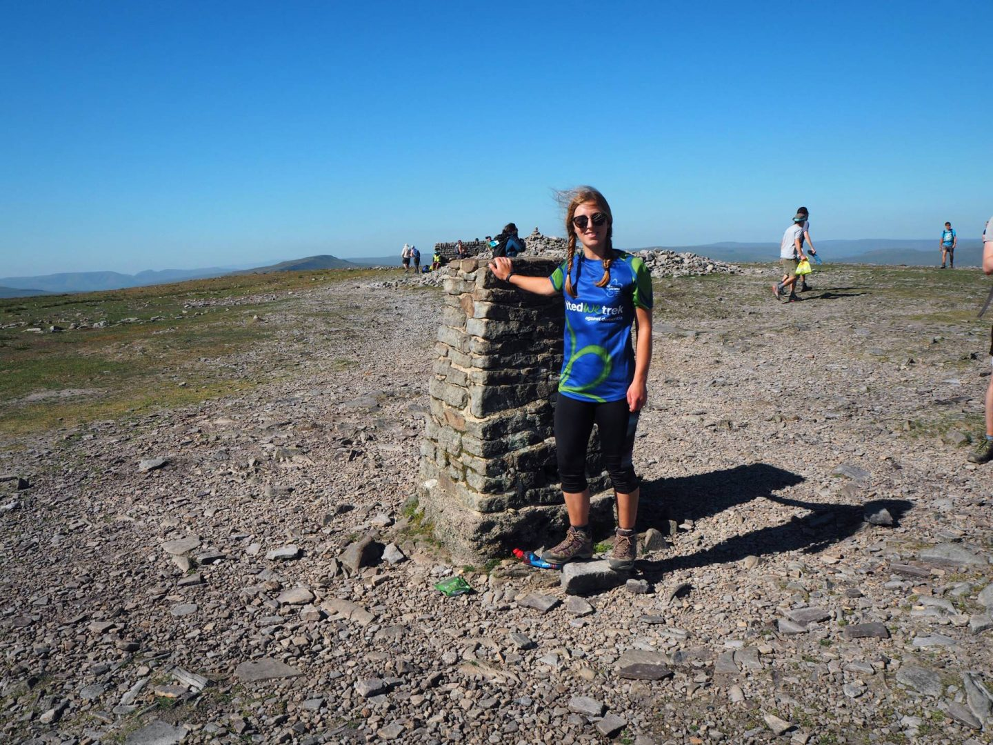 Standing at the summit of Ingleborough in the Yorkshire Dales