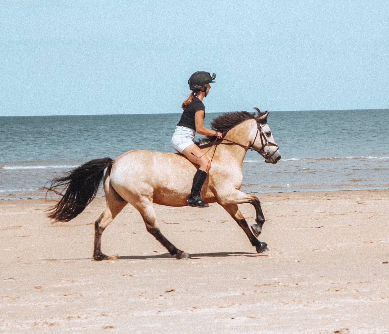Cantering bareback on Holkham Beach in Norfolk