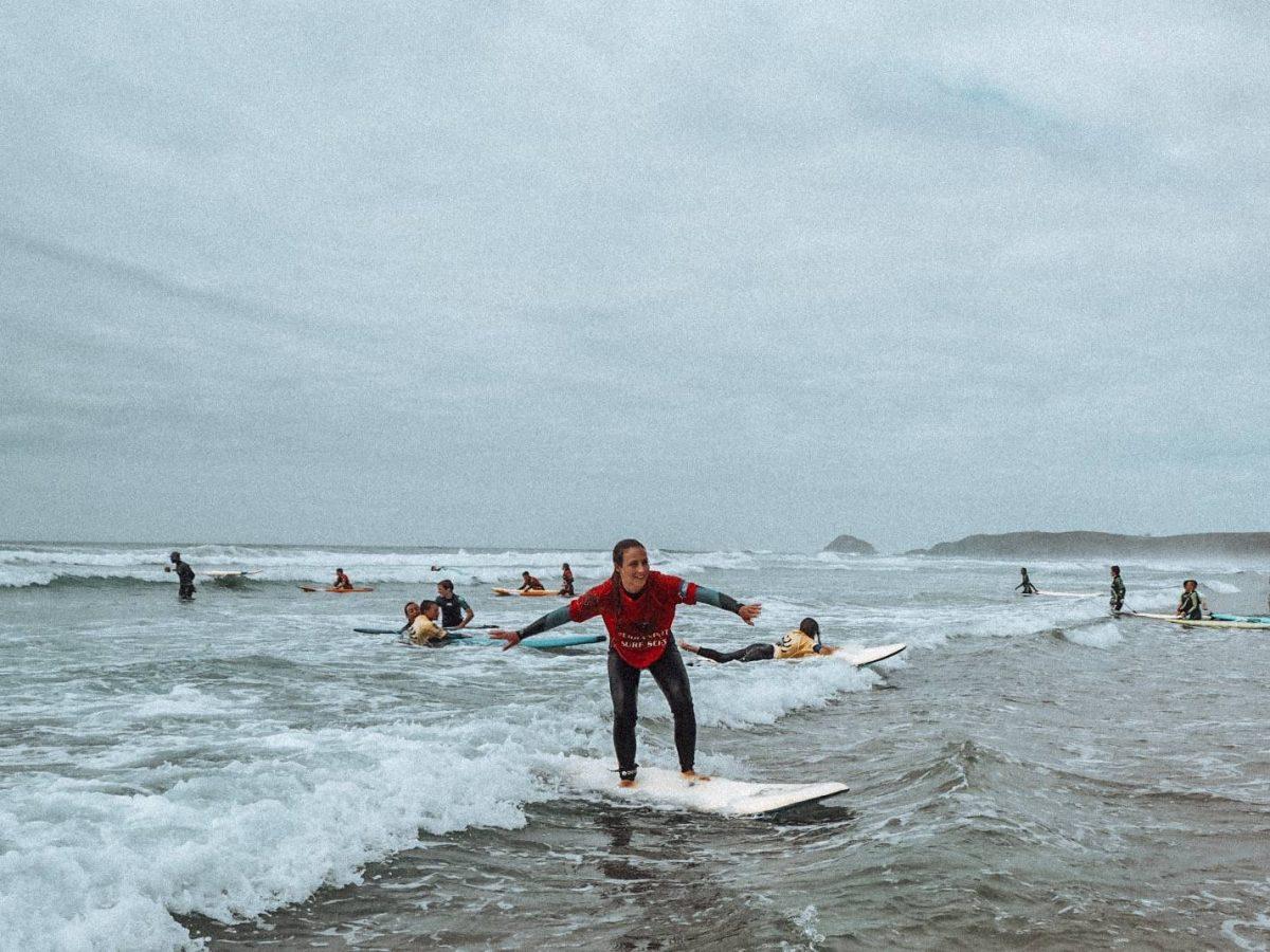 Surfing on Perranporth Beach