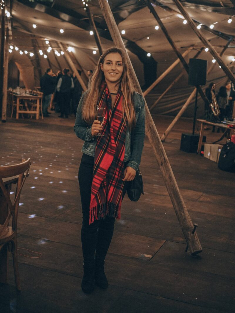 Girl inside tipi at Scandinavia Events Christmas party