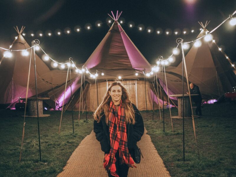 Outside tipi tent at Scandinavia Events in Milton Keynes