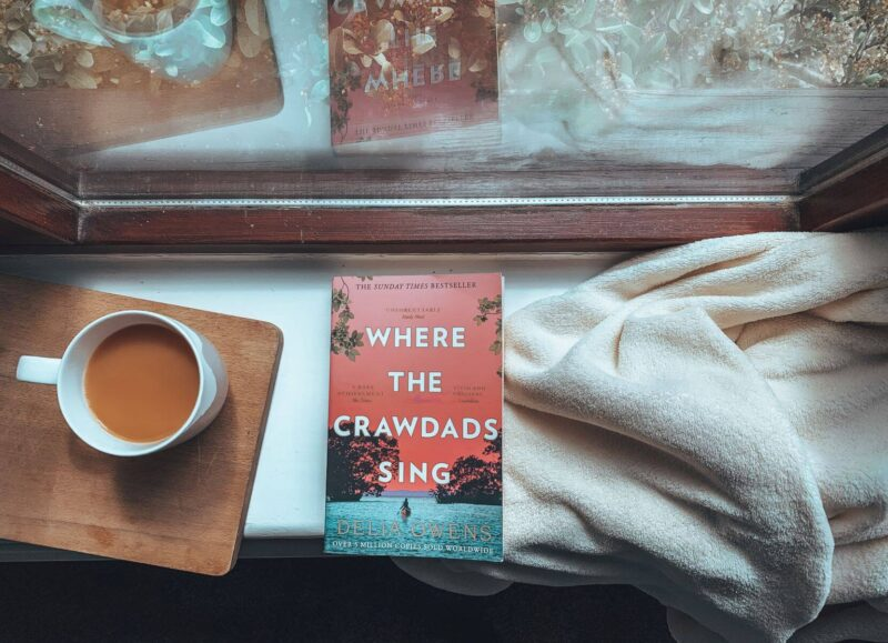Where the Crawdads Sing by Delia Owens on a windowsill alongside a blanket and a cup of tea