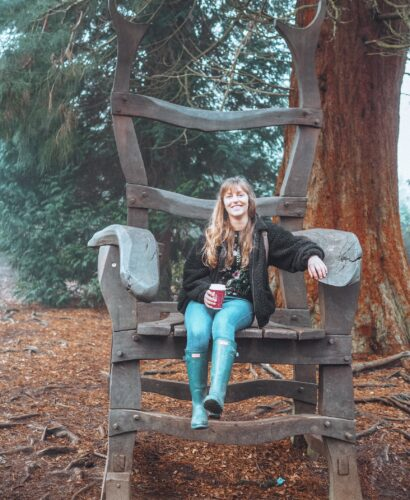 Girl on the Giant chair in Rushmere Country Park