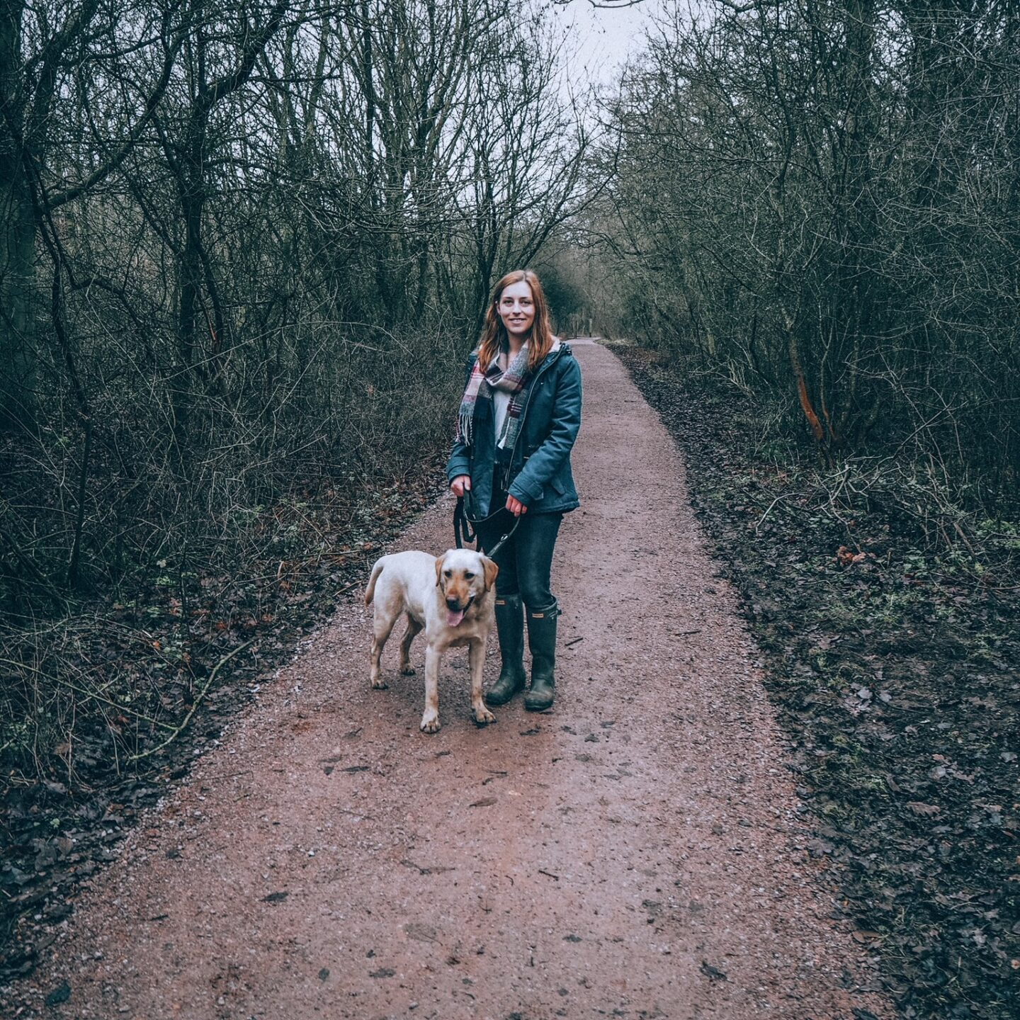 Girl walking a dog in Salcey Forest