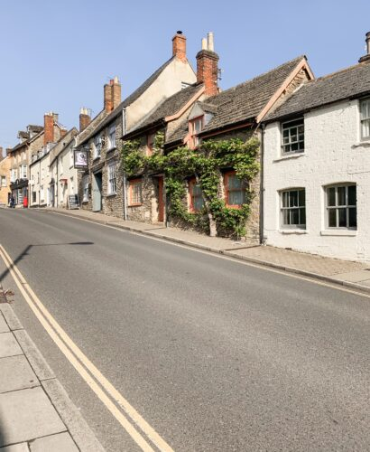 Bottom of Malmesbury high street in the Cotswolds
