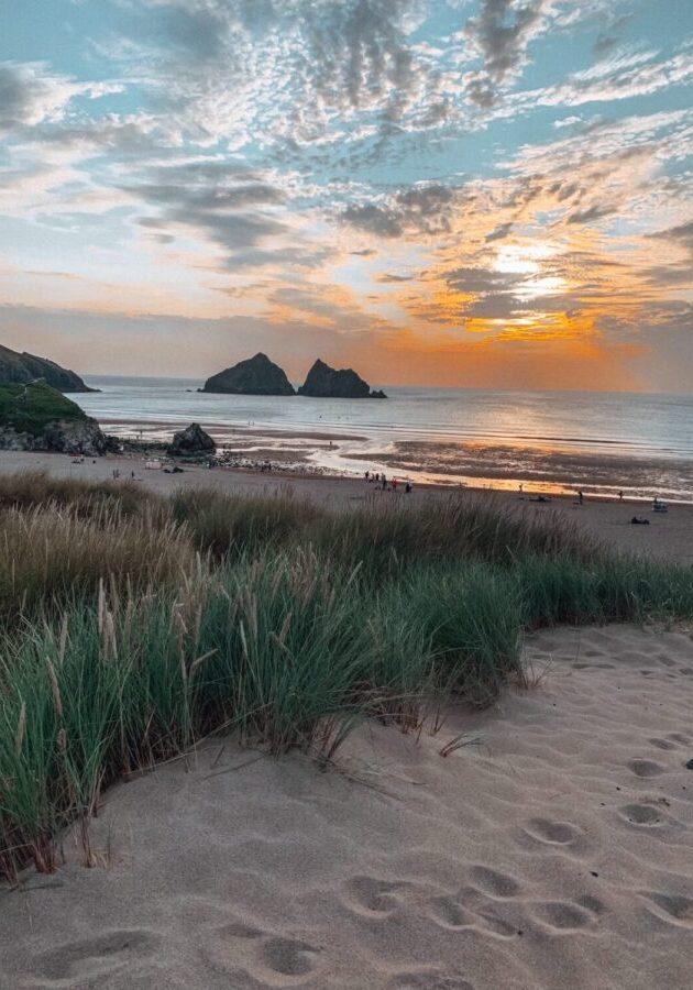 Sunset at Holywell Bay Beach Cornwall