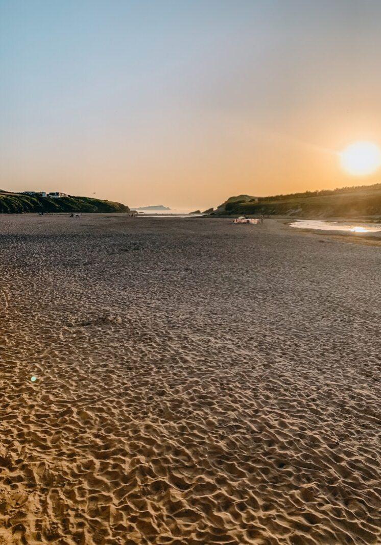 Sunset at Porth Beach Cornwall